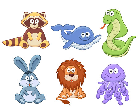snake cartoon: Cute cartoon animals isolated on white background. Stuffed toys set. Vector illustration of adorable plush baby animals. Raccoon, whale, snake, bunny, lion, jellyfish.