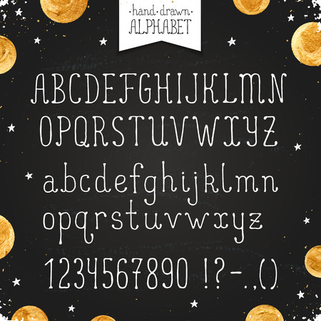 uppercase: Hand drawn narrow alphabet. Uppercase and lowercase thin letters and numbers on chalkboard. Handdrawn typography. Narrow doodle font with golden dots.