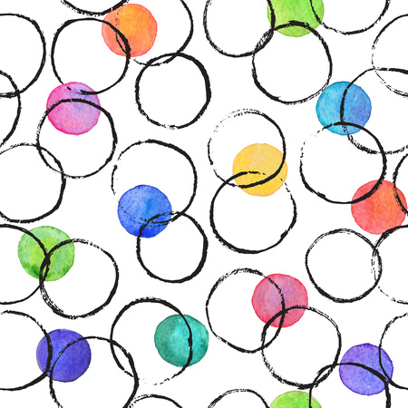 dry brush: Watercolor texture. Aquarelle spots hand drawn with dry brush. Seamless pattern. Watercolor pattern with colorful spots and black circles isolated on white background. Illustration