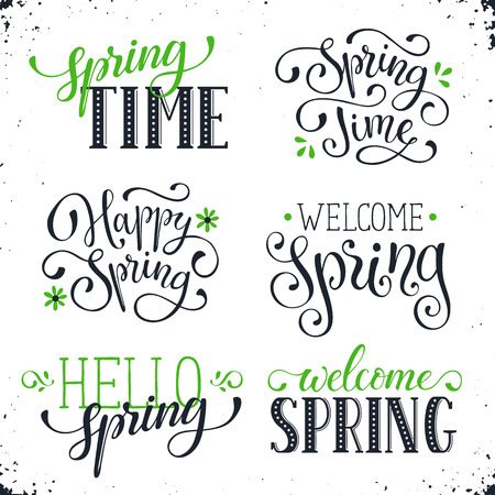 phrases: Hand written Spring time phrases in black and green. Greeting card text templates isolated on white background. Welcome Spring lettering in modern calligraphy style. Hello Spring wording.