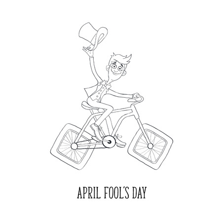 cycle suit: Fun illustration of guy in suit on bicycle. Comic concept of bicycle with square wheels.  Cartoon bicyclist in sketch stile isolated on white background. Hand drawn greeting card for April Fools Day.