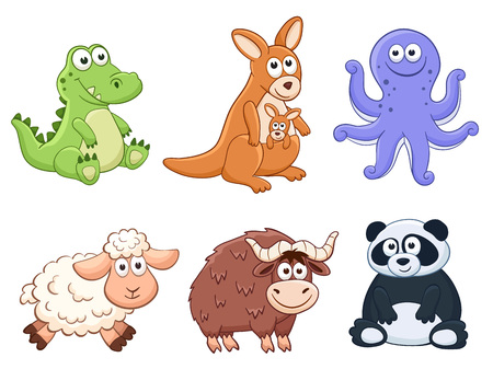 Cute cartoon animals isolated on white background. Stuffed toys set. Vector illustration of adorable plush baby animals. Crocodile, kangaroo, octopus, sheep, yak, panda.