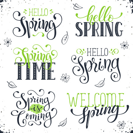 phrases: Hand written Spring time phrases in black and green. Greeting card text templates isolated on white background. Hello Spring lettering in modern calligraphy style. Spring wording. Illustration