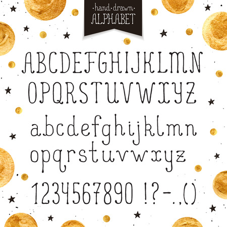 Hand drawn narrow alphabet. Uppercase and lowercase thin letters and numbers isolated on white background. Handdrawn typography. Narrow doodle font with golden dots. Illustration