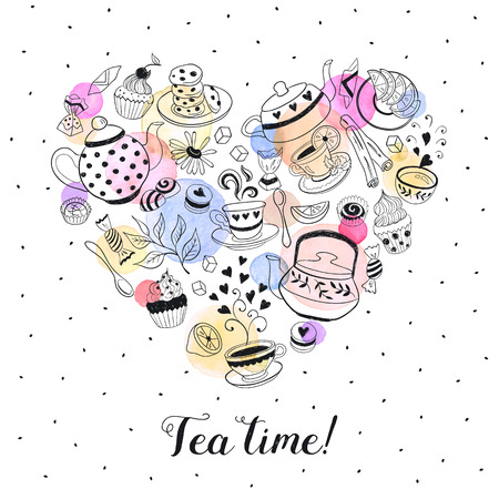 teapot: Tea time poster concept. Tea party card design. Hand drawn doodle illustration with teapots, cups and sweets. Tea time objects in heart shape. I love tea.