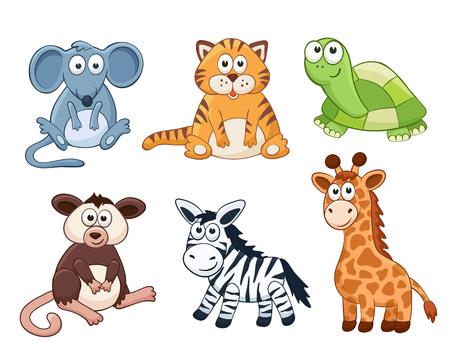 stuffed: Cute cartoon animals isolated on white background. Stuffed toys set. Vector illustration of adorable plush baby animals. Mouse, tiger, turtle, opossum, zebra, giraffe.
