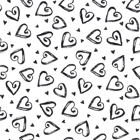 dry brush: Dry brush texture. Hand drawn black ink hearts isolated on white background. Seamless pattern. Romantic monochrome design.