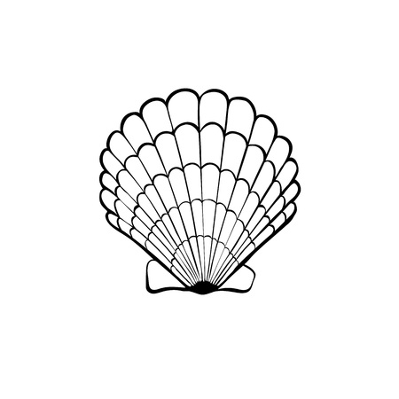 Hand gezeichnet Meer Shell. Scallop Umriss. Seashell-Symbol in schwarz auf weißem Hintergrund.