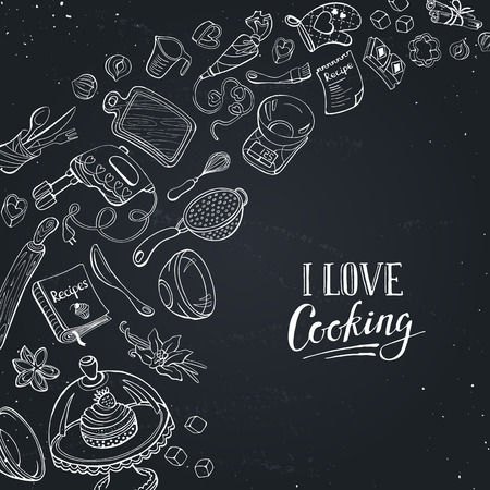Baking utensils in doodle style. I love cooking poster hand drawn on chalk board. Cafe and restaurant menu design concept.
