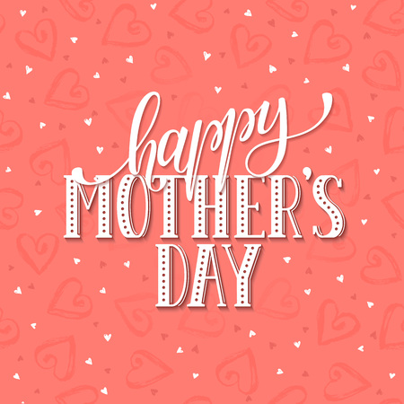dry brush: Mothers Day greeting card template. Happy Mothers day wording with dry brush hearts on background.