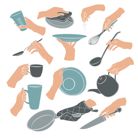 housewares: Cooking hands in flat stile isolated on white background. Woman hands holding kitchen items. Teapot, cup, knife, spoon, ladle, lid, whisk, plate, pan. Illustration