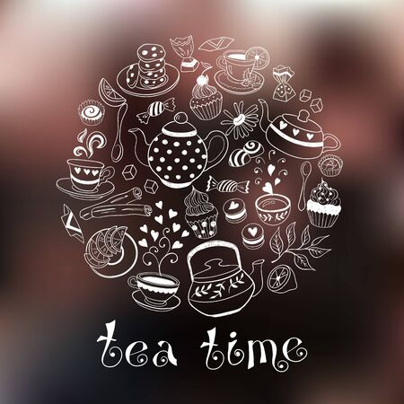 teapot: Tea time poster concept. Coffee party card design. Hand drawn doodle illustration with teapots, cups and sweets. Illustration