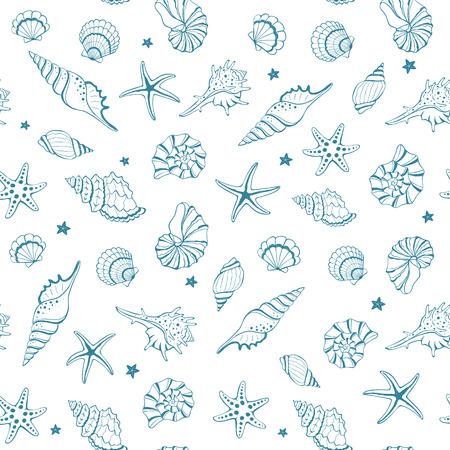 Me Encanta El Mar. Marco Del Círculo De Dibujado A Mano Conchas De ...