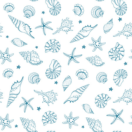Marine seamless background from hand drawn sea shells and stars. Nautical pattern with shellfishes isolated on white.