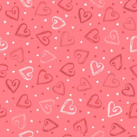 dry brush: Dry brush texture. Hand drawn hearts isolated on white background. Seamless pattern. Romantic design for wrapping papers.