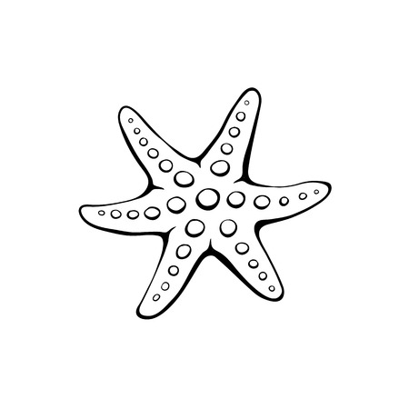 sea star: Hand drawn seastar. Starfish outline. Sea star icon in black isolated on white background.
