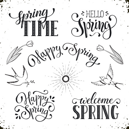 phrases: Hand written Spring phrases .Greeting card text templates isolated on white background. Happy Spring lettering in modern calligraphy style.