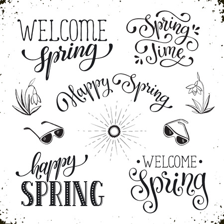 Hand written spring phrases eeting card text templates isolated hand written spring phrases eeting card text templates isolated on white background happy spring m4hsunfo
