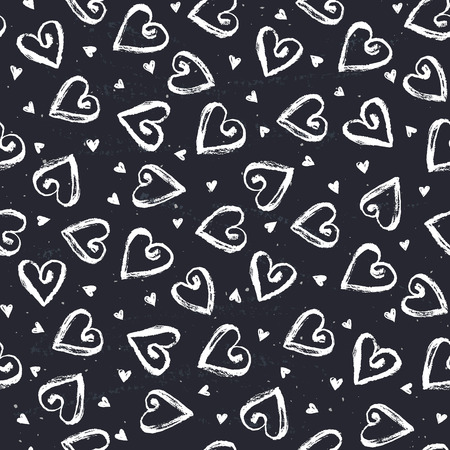 dry brush: Dry brush texture. Hand drawn hearts on chalkboard. Seamless pattern. Romantic monochrome design.