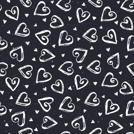 white heart: Dry brush texture. Hand drawn hearts on chalkboard. Seamless pattern. Romantic monochrome design.