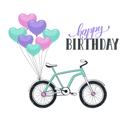 bycicle: Happy birthday greeting card with bike isolated on white background. Hand drawn bycicle with colorful balloons in heart shape.