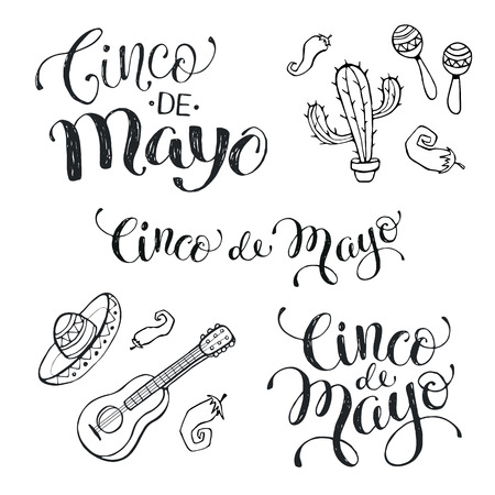 Hand written phrases for Mexican celebration of Cinco de Maya. Cinco de mayo wording isolated on white background. National mexican attributes. Hand drawn items of mexican culture. Ilustração