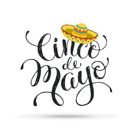 Ilustración divertida del Cinco de Mayo con el texto. letterining mexicana con el icono del sombrero aislado en el fondo blanco. Ilustración de vector