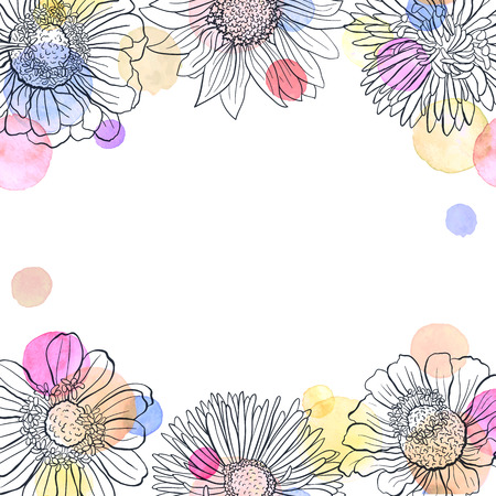 copyspace: Greeting card template. Square frame from flowers outlines and watercolor dots on white background. Hand drawn floral frame with copyspace.