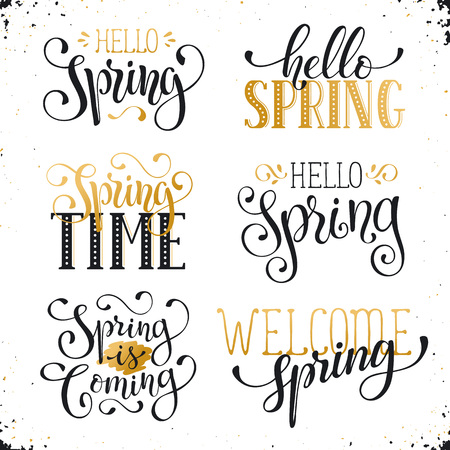 phrases: Hand written Spring time phrases in white and gold. Greeting card text templates on blackboard. Hello Spring lettering in modern calligraphy style. Spring wording. Illustration