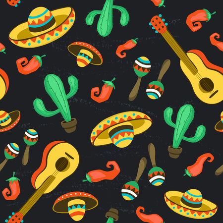 Seamless background with mexican culture attributes. Mexican background from guitars,sombrero, maracas and cactuses. Vectores