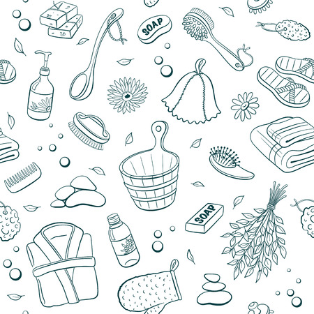 sauna: Sauna seamless pattern from sauna accessories sketches. Hand drawn spa items background. Doodle sauna objects isolated on white background.