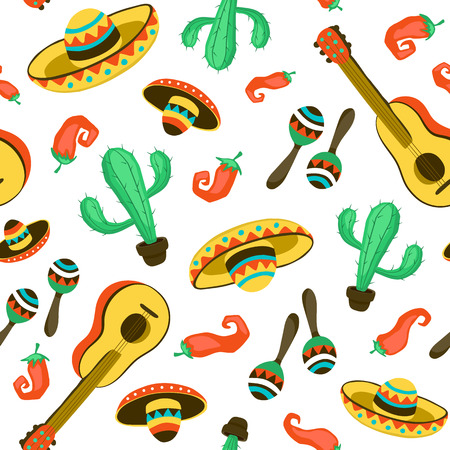 Seamless background with mexican culture attributes. Mexican background from guitars,sombrero, maracas and cactuses. 向量圖像
