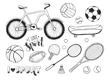 Me Encanta Deporte Ilustración. Colección De La Bola Del Deporte Del ...