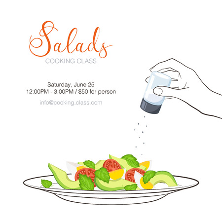 side menu: Cooking class flayer template. Fresh salad from avocado, tomatoes and eggs isolated on white background. Healthy food vector illustration with text. Hand holding salt in sketch style. Illustration