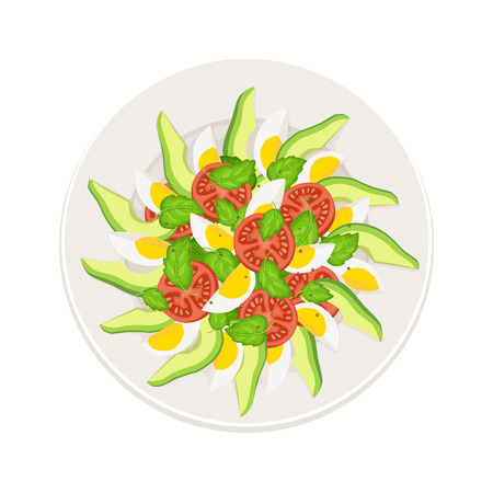 top menu: Fresh salad from avocado, tomatoes and eggs on plate isolated on white background. Top view. Healthy food concept. Salad vector illustration for menu.