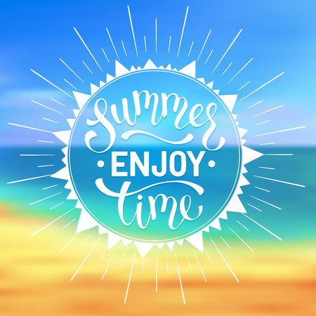 Enjoy summer time wording. Bright summer time lettering design. Enjoy summer greeting card concept.