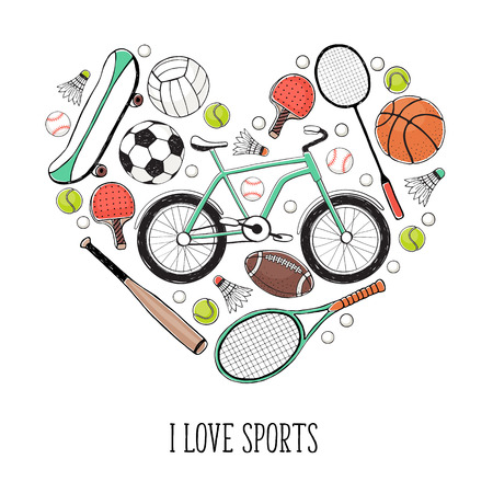 bycicle: Collection of vector sport equipment. I love sports illustration. Hand drawn sport balls, rackets, bycicle isolated on white background.