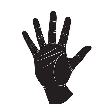 high five: Human hand  icon lisolated on white backgound. Human palm shape. High five sign siluette black on white.