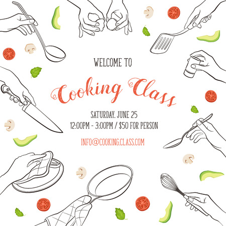 Cooking class flayer template. Cooking hands outlines isolated on white background. frame from woman hands holding kitchen items. Ilustrace