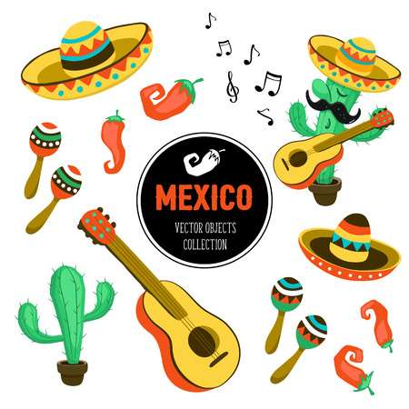 attributes: Mexican culture attributes collection. Guitar, sombrero, maracas, cactus and jalapeno isolated on white background.