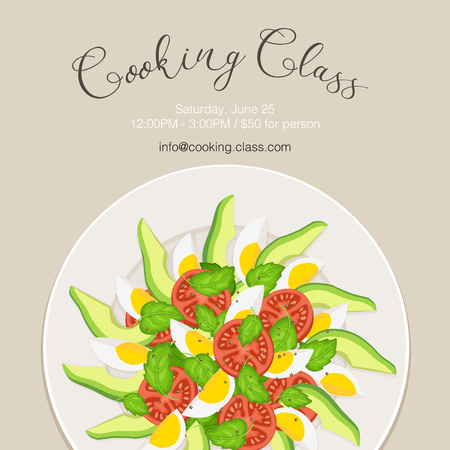 top class: Cooking class flayer template. Fresh salad from avocado, tomatoes and eggs on white plate. Top view. Healthy food vector illustration with text.