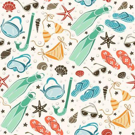 Swimsuits and flip flops background in vintage colors. Illustration of swimsuits, masks, shells, flippers and sunglass. Summer vacations seamless pattern. Hand drawn beach accessories in retro style.