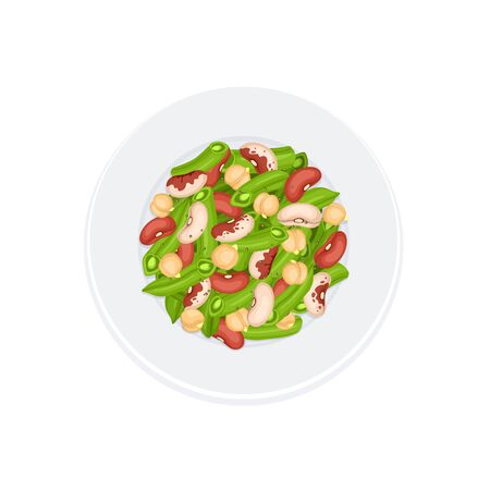 food dish: Fresh salad from beans, french beans and chickpea on plate isolated on white background. Salad plate from top view. Healthy food concept. Salad vector illustration for menu design.