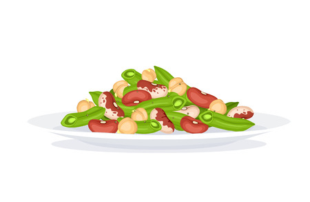 side menu: Fresh salad from beans, french beans and chickpea on plate isolated on white background. Salad plate form side view. Healthy food concept. Salad vector illustration for menu design. Illustration