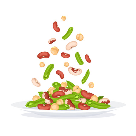 Fresh salad from beans, french beans and chickpea. Salad plate side view. Healthy food vector illustration isolated on white background. Flying vegetables concept.