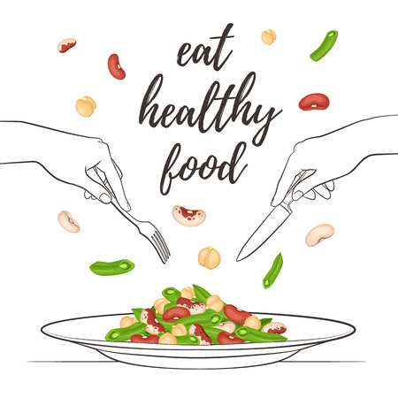 Eat healthy food concept. Fresh salad from beans and chickpea on plate isolated on white background. Vector illustration of salad with hands holding fork and knife in sketch style.