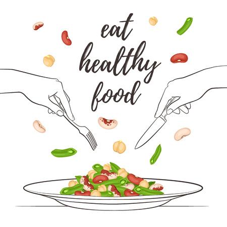 Mangiare cibo sano concetto. Insalata fresca da fagioli e ceci sul piatto isolato su sfondo bianco. Illustrazione vettoriale di insalata con le mani azienda forchetta e coltello in stile schizzo.