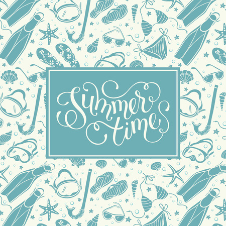 time frame: Summer time greeting card in vintage colors. Illustration of swimsuits, masks, shells, flippers and sunglasses. Summer vacations square frame composition. Hand drawn beach accessories in retro style. Illustration