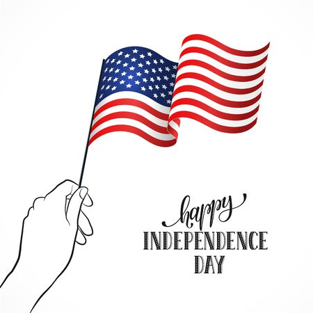 women's hand: Happy Independence Day. Womens hand holding USA flag with text on white background. USA Independence Day flayer. Illustration