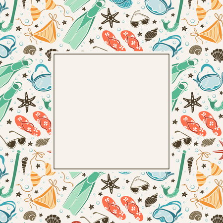 copyspace: Summer background in vintage colors. Illustration of swimsuits, masks, shells, flippers and sunglasses. Retro frame from beach accessories with copyspace. Greeting card template.